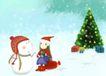 唯美插画0022,唯美插画,少年儿童,圣诞到了