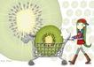 唯美插画0029,唯美插画,少年儿童,巨大猕猴桃片 手推车