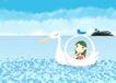 唯美插画0035,唯美插画,少年儿童,白天鹅