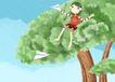 唯美插画0036,唯美插画,少年儿童,纸飞机 坐在树上