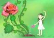 唯美插画0038,唯美插画,少年儿童,巨大的玫瑰 洒水 水壶