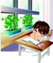 学生学习0017,学生学习,少年儿童,午休 趴在课桌上