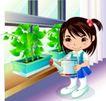 学生学习0018,学生学习,少年儿童,花洒 洒水 爱护植物
