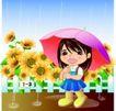 学生学习0022,学生学习,少年儿童,下雨 红伞