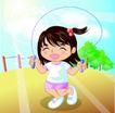 学生学习0028,学生学习,少年儿童,跳绳 开心表情