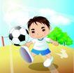 学生学习0029,学生学习,少年儿童,踢足球 晴天