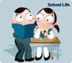 学生课堂0002,学生课堂,少年儿童,同学 铅笔 看书