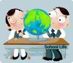 学生课堂0018,学生课堂,少年儿童,地理课 地球仪
