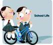 学生课堂0019,学生课堂,少年儿童,回家 推着自行车