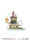 快乐生活0049,快乐生活,少年儿童,喇叭 音乐播放 屋顶