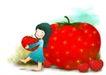 可爱小仙子0019,可爱小仙子,人物,红色果子 抱着果实
