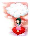 可爱小仙子0022,可爱小仙子,人物,白色云团 红心