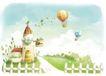 惬意情景0017,惬意情景,情景,天空中的热气球 栅栏
