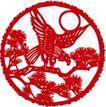 古典图案0053,古典图案,节日喜庆,月夜 老鹰展翅 松枝