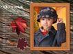 鲜花宝贝0057,鲜花宝贝,影楼摄影设计,相框 少女肖像 手捏帽檐