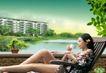 风景人物0060,风景人物,平面设计模板,中国加入世贸 女人喝茶 花盆 果盘 湖面楼房
