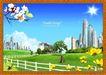 韩国分层风景19,韩国风景,中堂画,