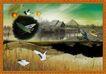 韩国分层风景30,韩国风景,中堂画,