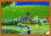 韩国分层风景34,韩国风景,中堂画,
